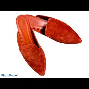 Able suede flat slide mules rust orange size 10